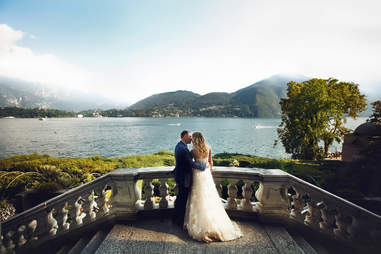 Man and woman wedding in Lake Cuomo, Italy