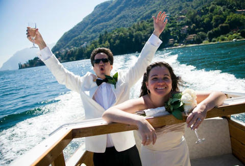 Couple man and woman married on Lake Cuomo, Italy