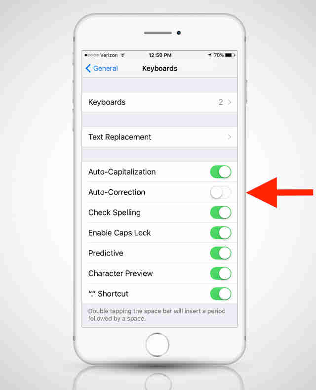 screenshot of keyboard settings for iPhone 6