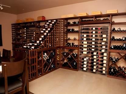racks of wine bottles at Wine Poste Bar