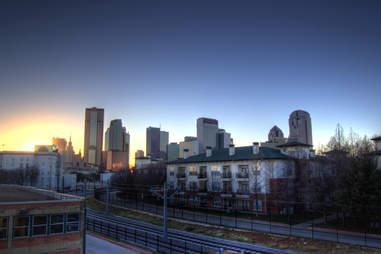 Dallas sunset skyline from Deep Ellum