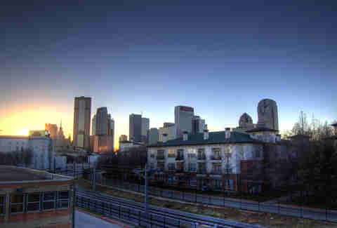 Dallas sunset skyline from Deep Ellum
