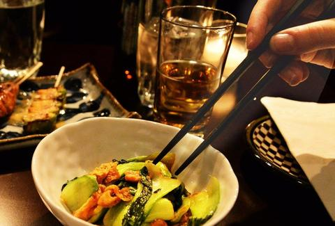 chopsticks vegetables and beer at Juban in Chelsea nyc new york city japanese food