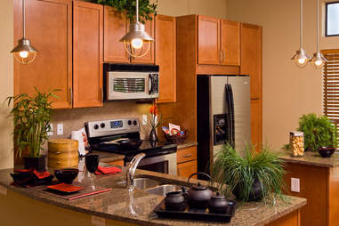 microwave, kitchen, stove, counter top