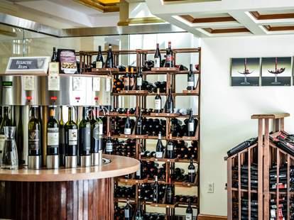 Shelves of wine bottles