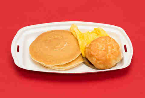 McDonald's breakfast with hot cakes and biscuit