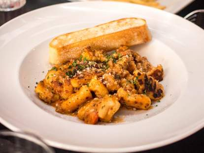gnocchi and bread plate close up Louie's Wine Dive Indianapolis