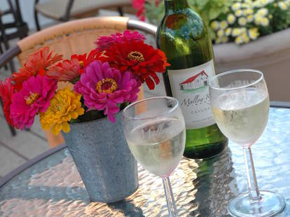 two glasses of white wine mallow run winery indianapolis