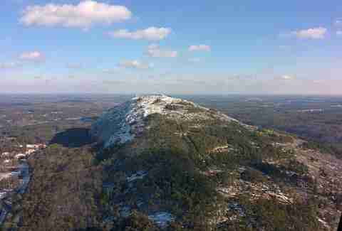 Snow-capped peak of Stone Mountain in Atlanta