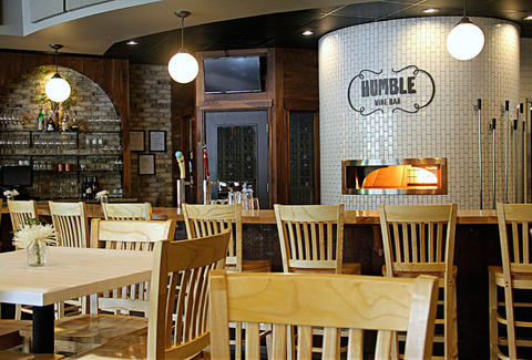 Humble Wine Bar, lakewood wine bar, Cleveland wine bar interior wood tables and chairs
