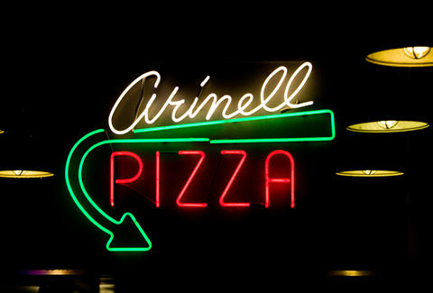 neon sign arinell pizza san francisco