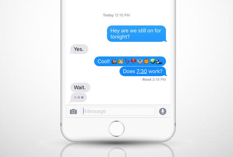 iPhone text messages with periods and emojis