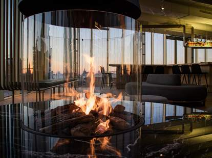 Fire burning inside the W Lounge