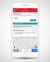 Screenshot of seamless app ordering food for delivery