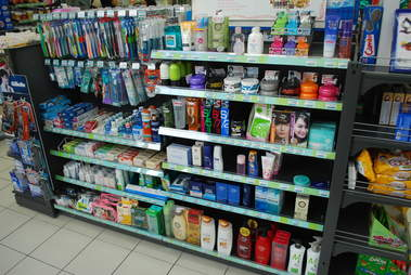 convenience store aisle with toiletry products