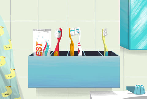 Jason Hoffman illustration bathroom toothbrushes