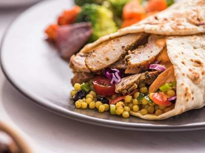 Roti chicken pita sandwich with couscous chicago