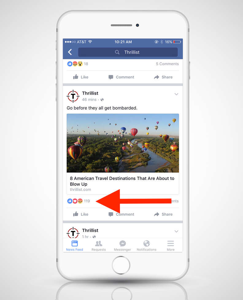 screenshot of Facebook app with Reactions on a post