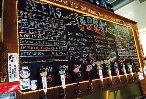 blackboard menu beer specials Core Brewing Company arkansas