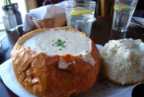 new england clam chowder in a bread bowl