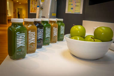 bottles lined up for a juice cleanse