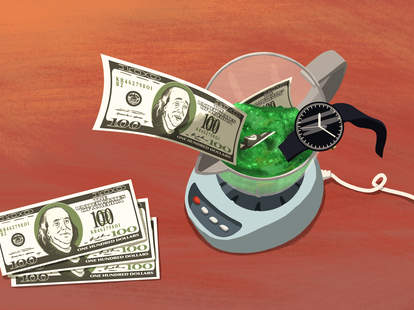 ullustration of money going into a blender, juice cleanse