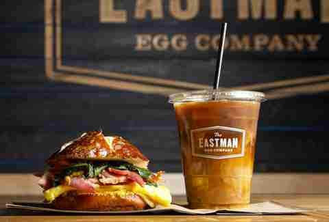 breakfast sandwich and iced coffee at Eastman Egg Company