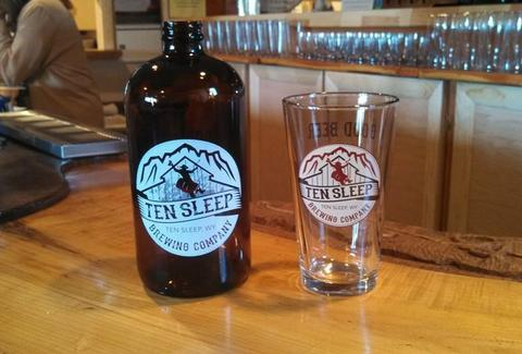 growler and pint glass from Ten Sleep Brewing Company in Wyoming craft beer