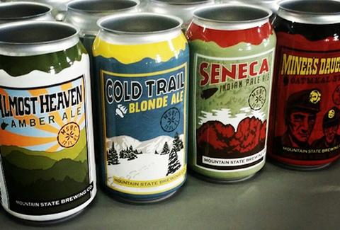 cans of beer from Mountain State Brewing West Virginia