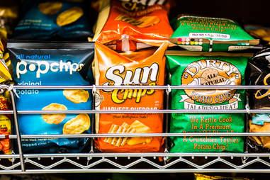 Pop chips in a supermarket shelf