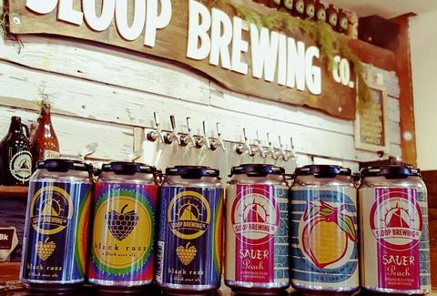 line of beer cans sloop brewing co. elizaville upstate new york craft beer