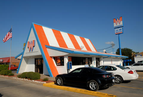 Whataburger chain restaurant with parking lot