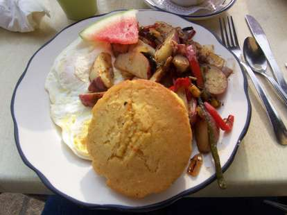 honey's sit 'n eat philadelphia muffin eggs watermelon