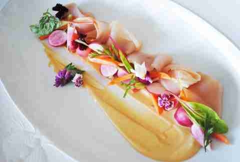 dish with flowers at snaggletooth restaurant