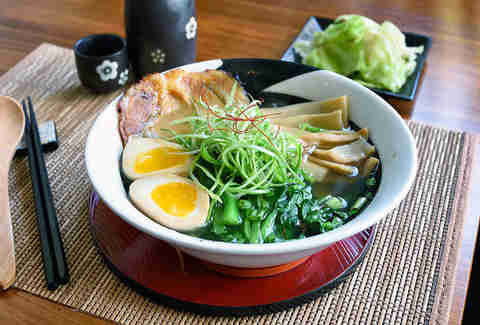 ramen with egg, scallions and pork