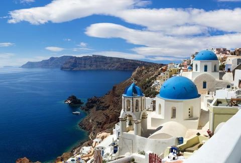 Panoramic image of Santorini from above