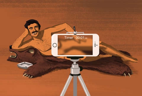 Cartoon of naked Bert Reynolds on a bearskin rug with an iPhone taking his picture