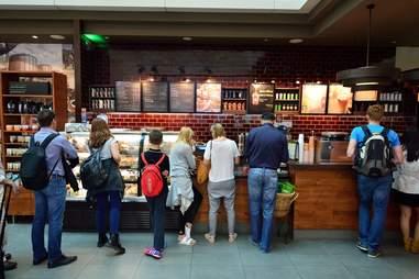 Line of people at Starbucks