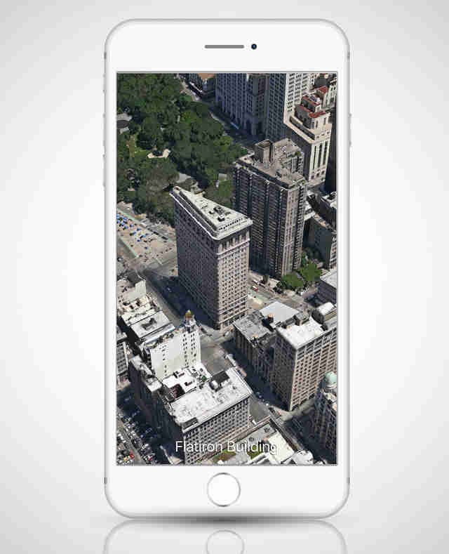 screenshot of Apple Maps' flyover tour view of NYC