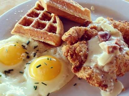 fried chicken waffle and eggs from memphis cafe in costa mesa california