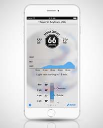 screenshot of Dark Sky app in an iPhone 6