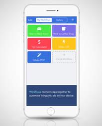screenshot of Workflow app in an iPhone 6