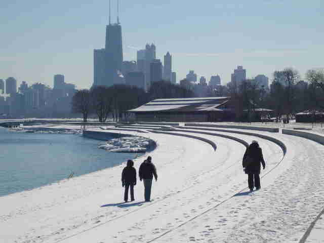 People walking on Chicago winter day