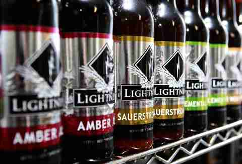 Lightning Brewery beers on a shelf