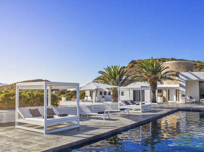 tropical resort pool cabanas