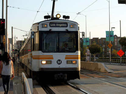 Metro los angeles train arriving to an expo line station