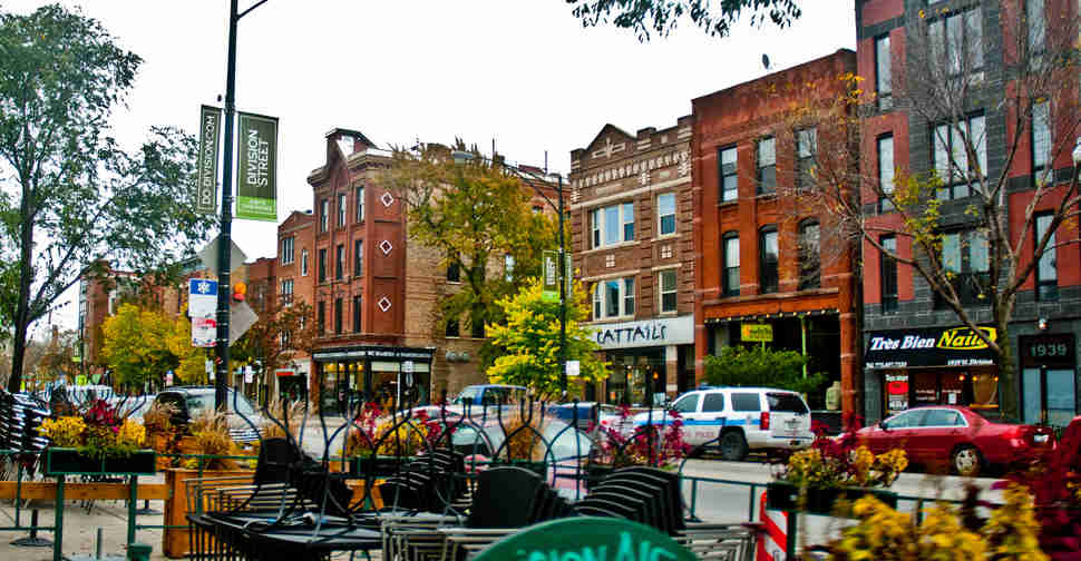 Division Street in Chicago's Wicker Park neighbourhood