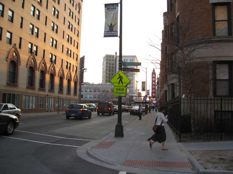 Woman walking down Chicago's Lawrence street