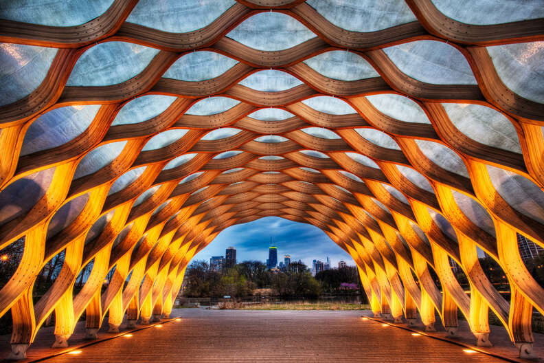 Lincoln park's lit tunnel at night