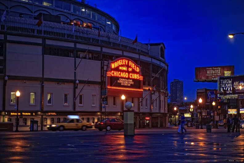 Chicago Cubs Wrigley Field stadium at night